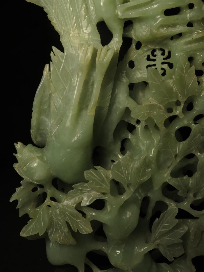 CHINESE CARVED JADE BIRD GROUP SCULPTURE - 2