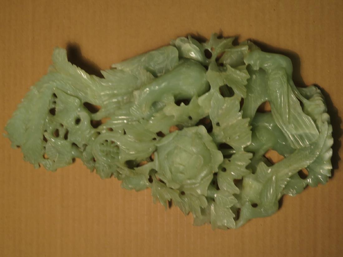CHINESE CARVED JADE BIRD GROUP SCULPTURE - 4