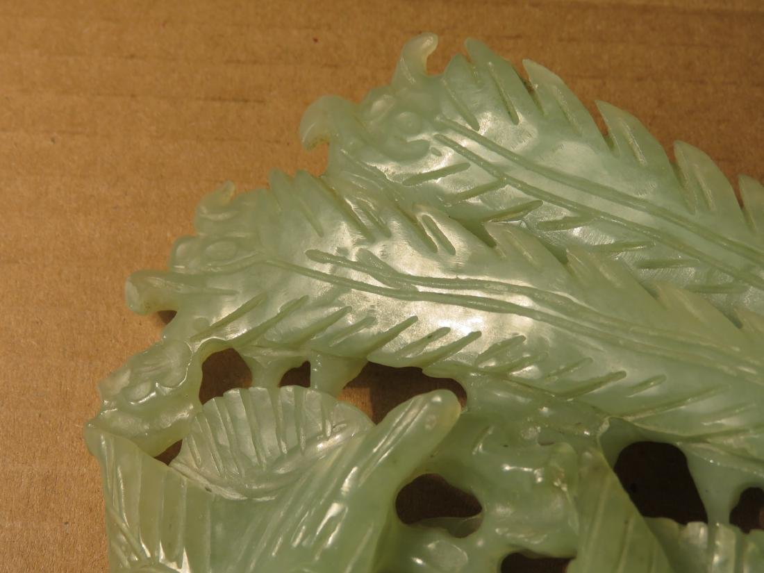 CHINESE CARVED JADE BIRD GROUP SCULPTURE - 6