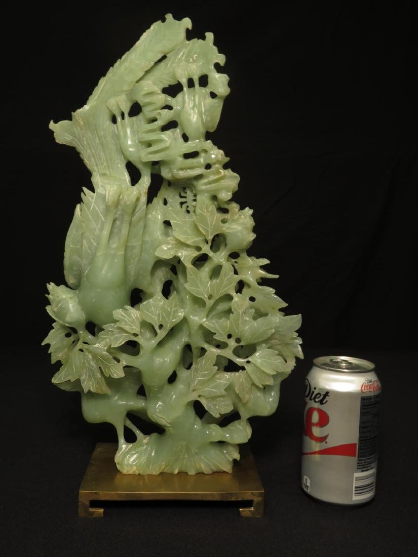 CHINESE CARVED JADE BIRD GROUP SCULPTURE - 9