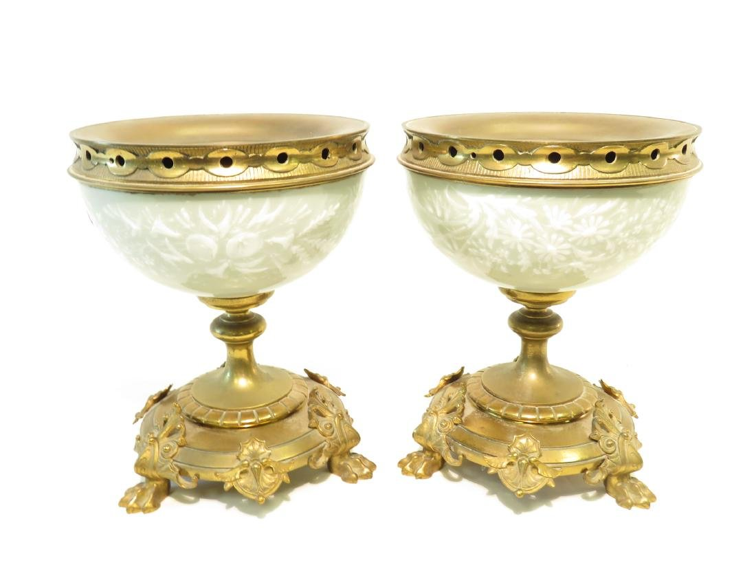 PAIR OF GILT BRONZE MOUNTED AND PATE SUR PATE URNS