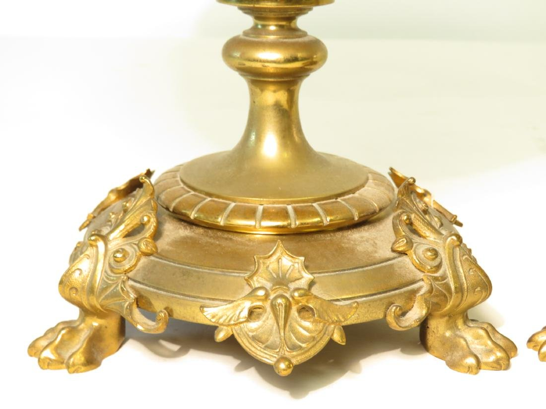 PAIR OF GILT BRONZE MOUNTED AND PATE SUR PATE URNS - 5