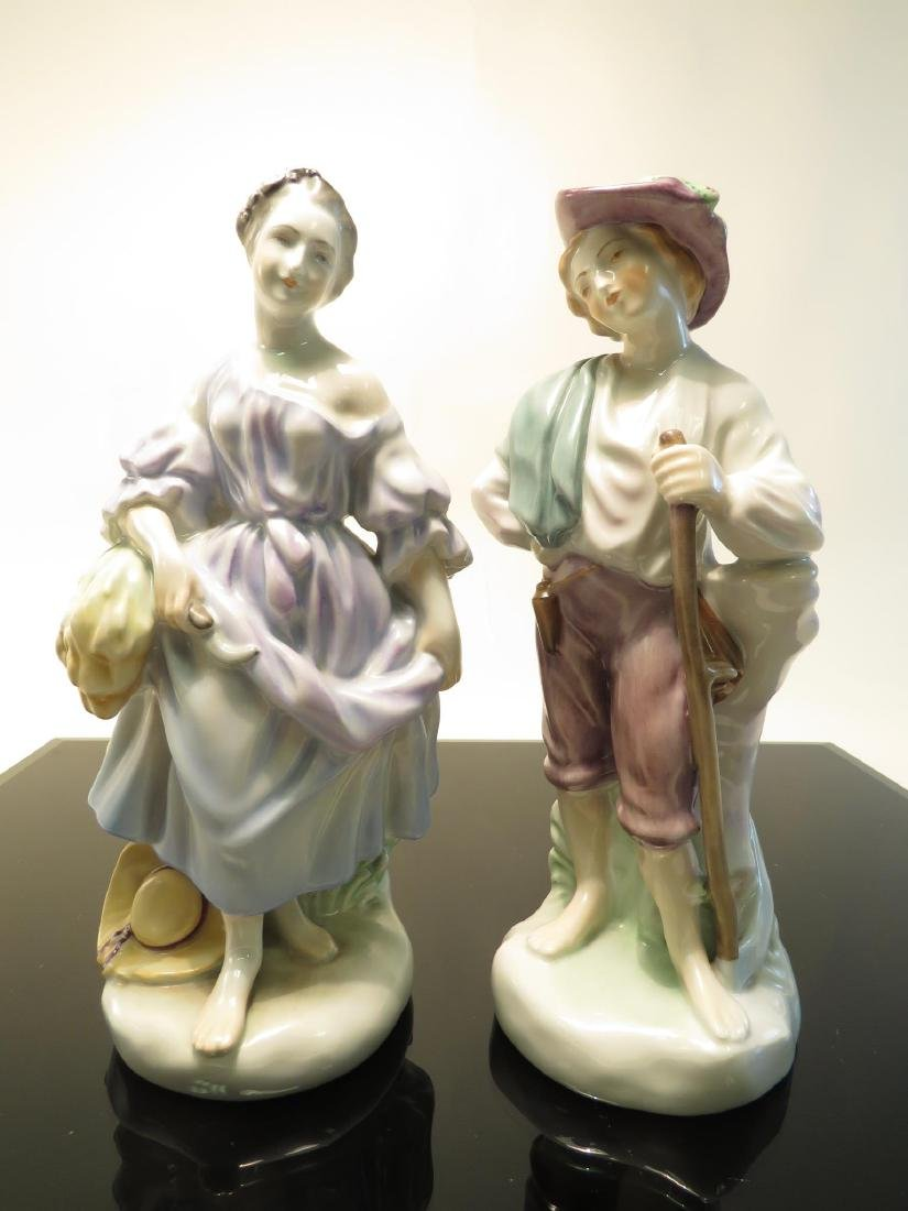 TWO HEREND PORCELAIN FIGURINES: MAN & WOMAN
