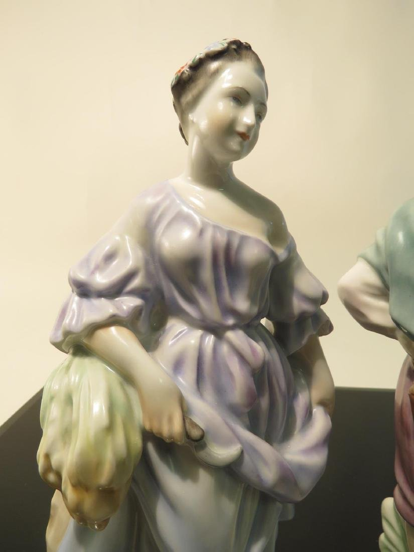 TWO HEREND PORCELAIN FIGURINES: MAN & WOMAN - 2