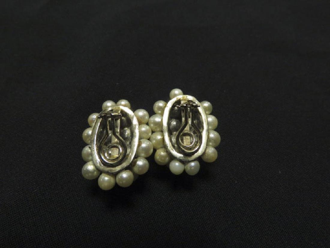 PAIR 14K WHITE GOLD, PEARL & DIAMOND CLIP EARRINGS - 2