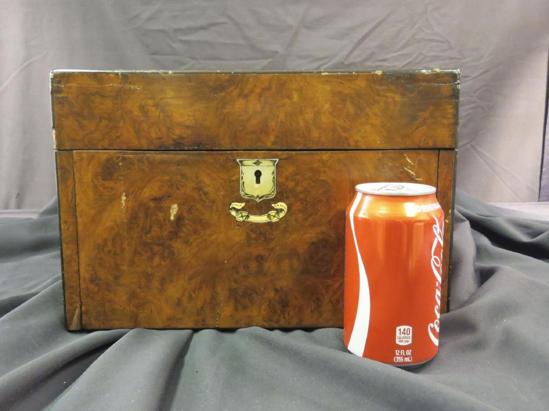 ANTIQUE BURLED WOOD TRAVELING VANITY CASE - 10