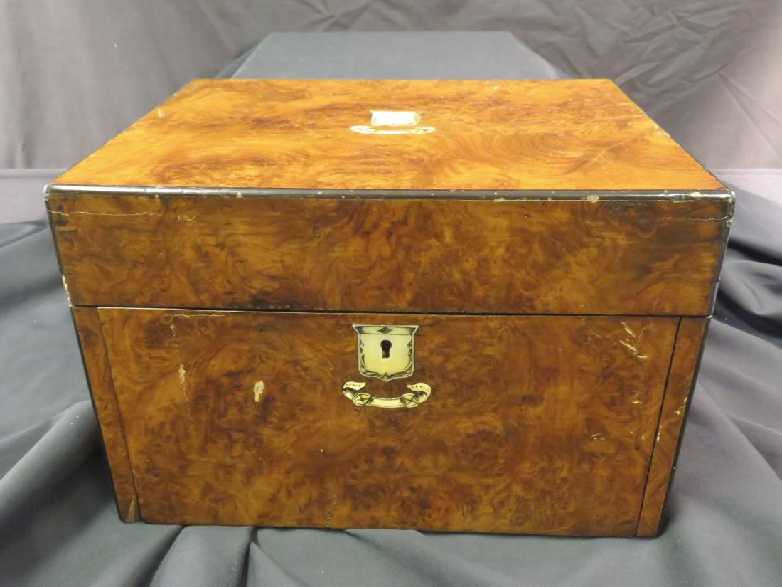 ANTIQUE BURLED WOOD TRAVELING VANITY CASE