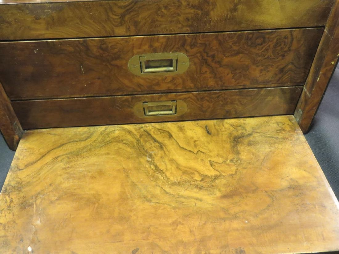 ANTIQUE BURLED WOOD TRAVELING VANITY CASE - 6