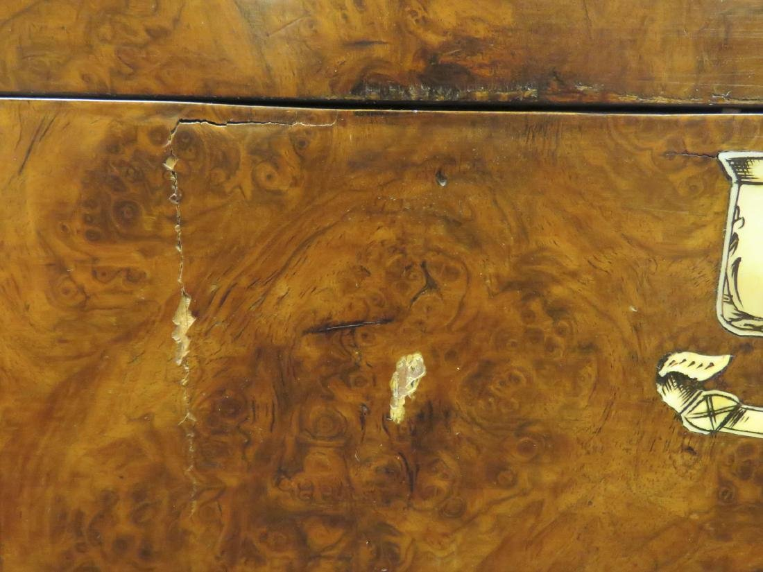 ANTIQUE BURLED WOOD TRAVELING VANITY CASE - 9