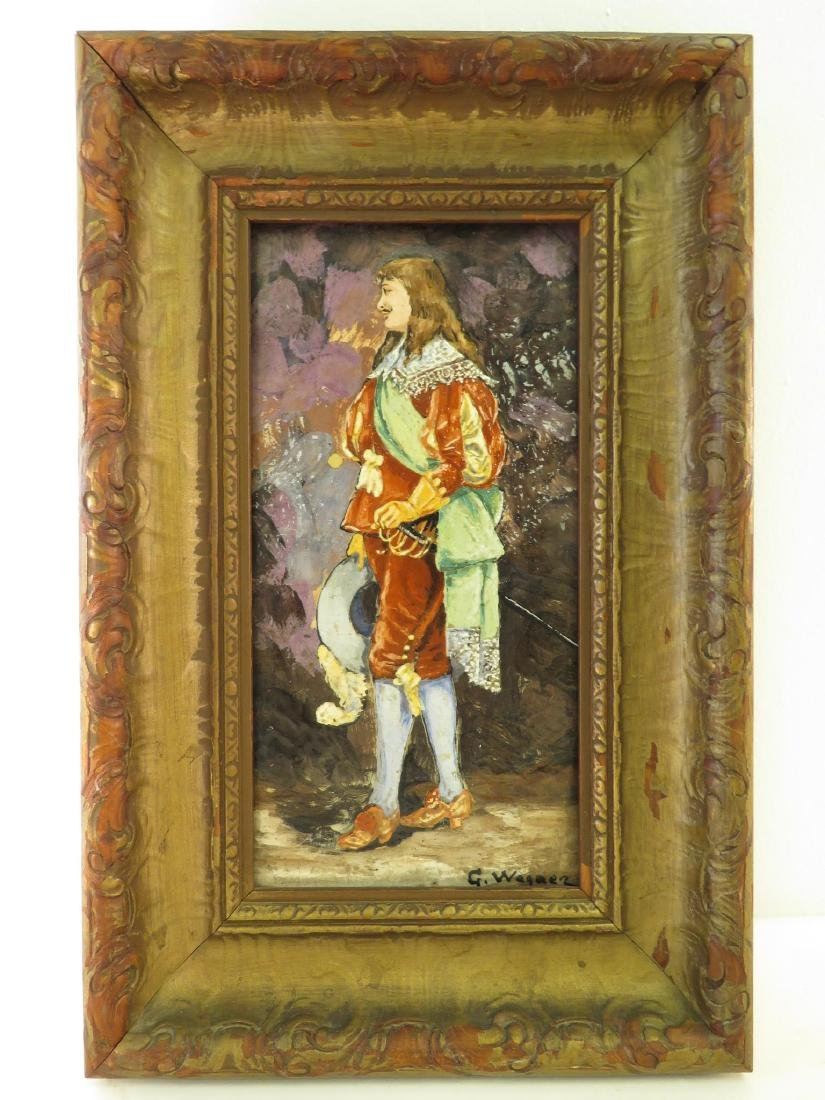 "ANTIQUE PAINTING ON POTTERY PLAQUE ""G. WAGNER"""