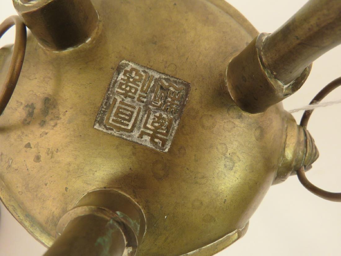 ANTIQUE CHINESE BRASS INCENSE BURNER CENSER - 6
