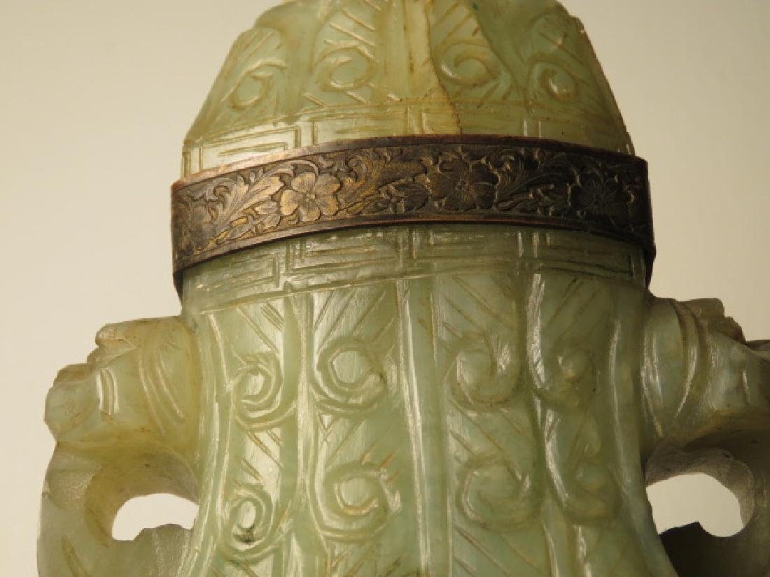 ANTIQUE CHINESE CARVED JADE URN - 4