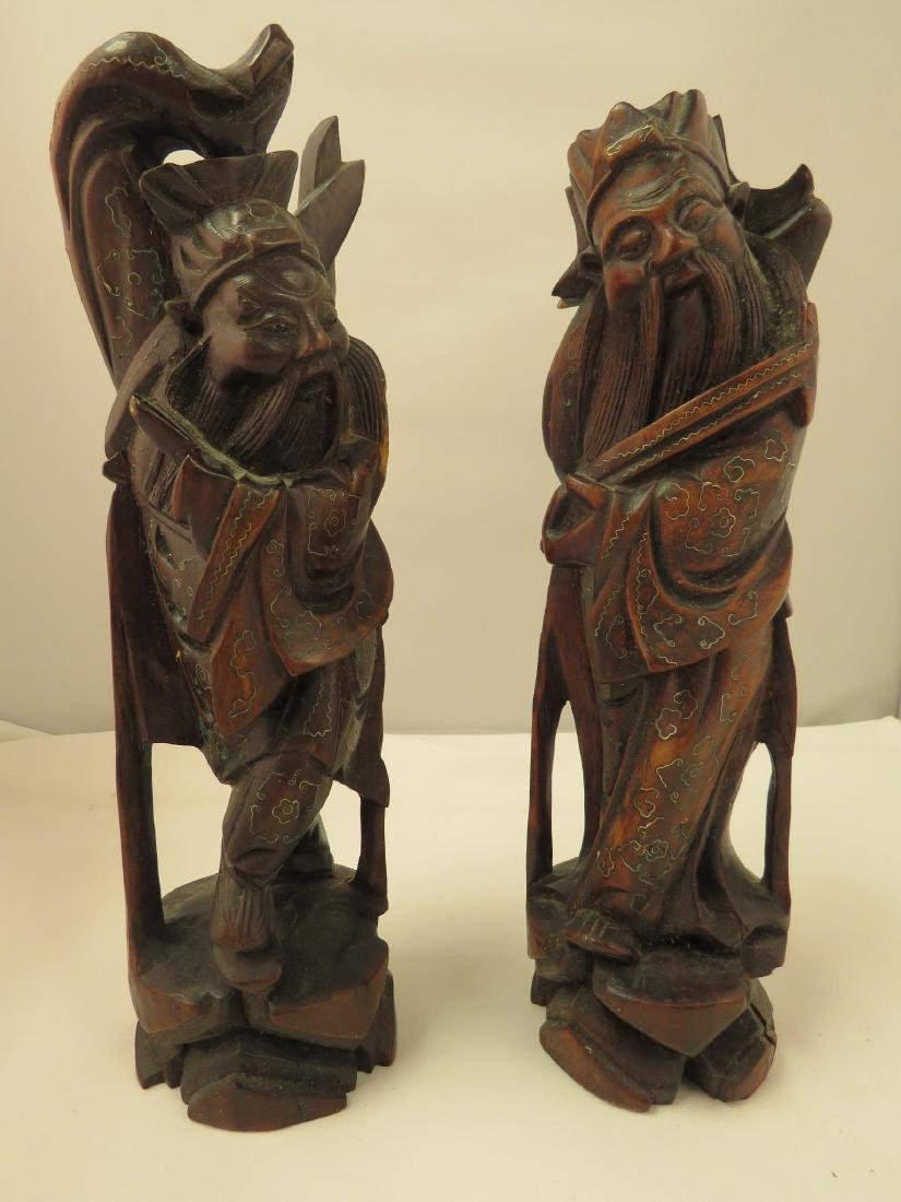 TWO ANTIQUE CHINESE CARVED & INLAID WOOD WISE MEN