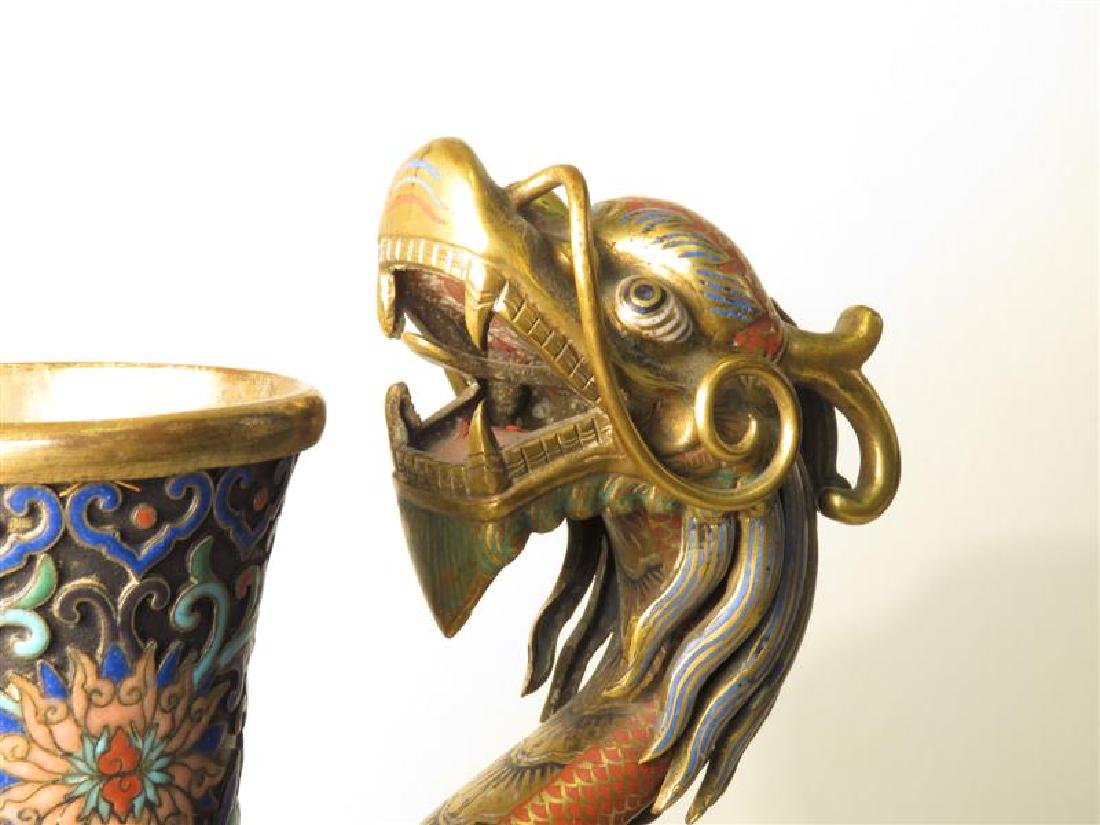 ANTIQUE 19TH C CHINESE CHAMPLEVE DRAGON JUG - 2