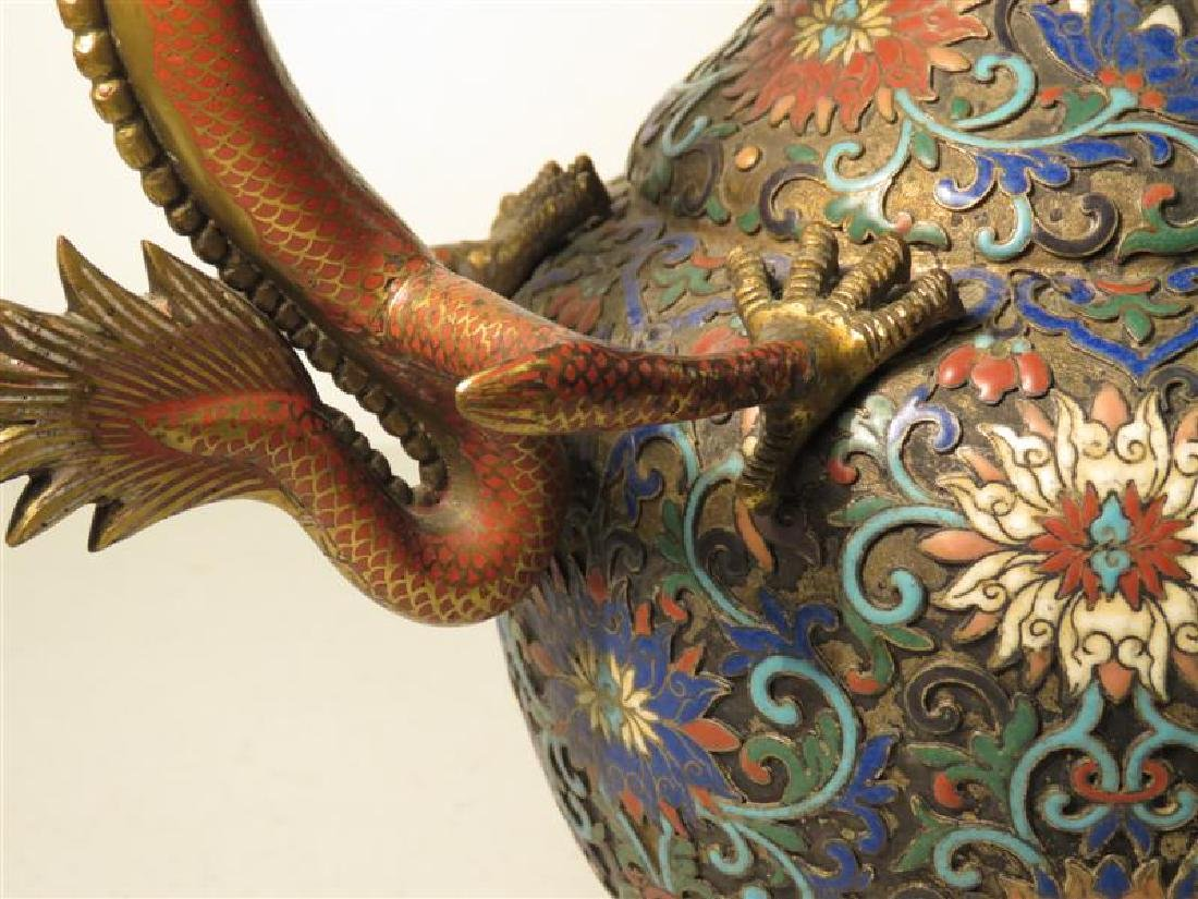 ANTIQUE 19TH C CHINESE CHAMPLEVE DRAGON JUG - 6
