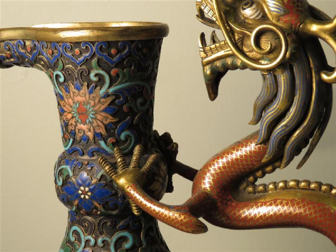 ANTIQUE 19TH C CHINESE CHAMPLEVE DRAGON JUG - 7