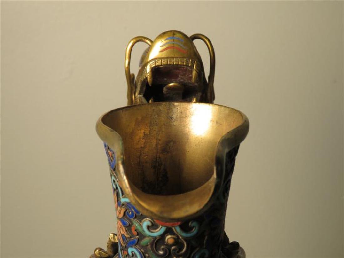 ANTIQUE 19TH C CHINESE CHAMPLEVE DRAGON JUG - 8