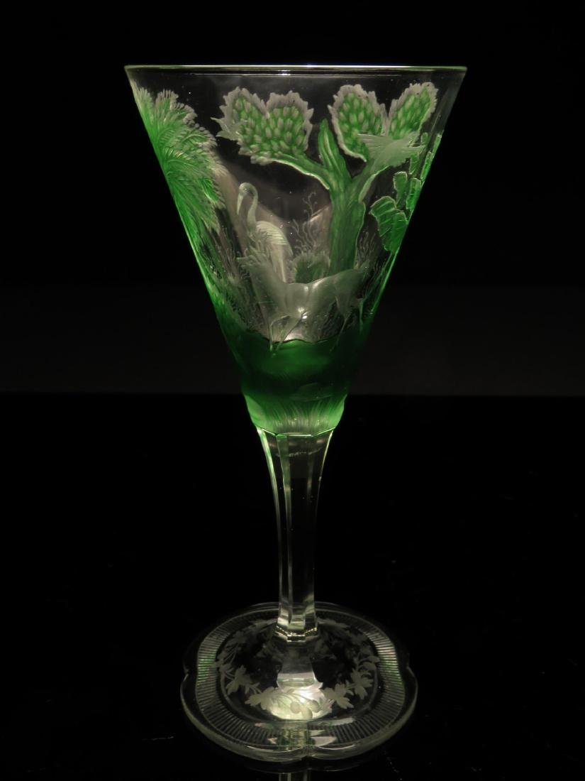 MOSER BOHEMIAN GREEN CUT TO CLEAR CRYSTAL STEM