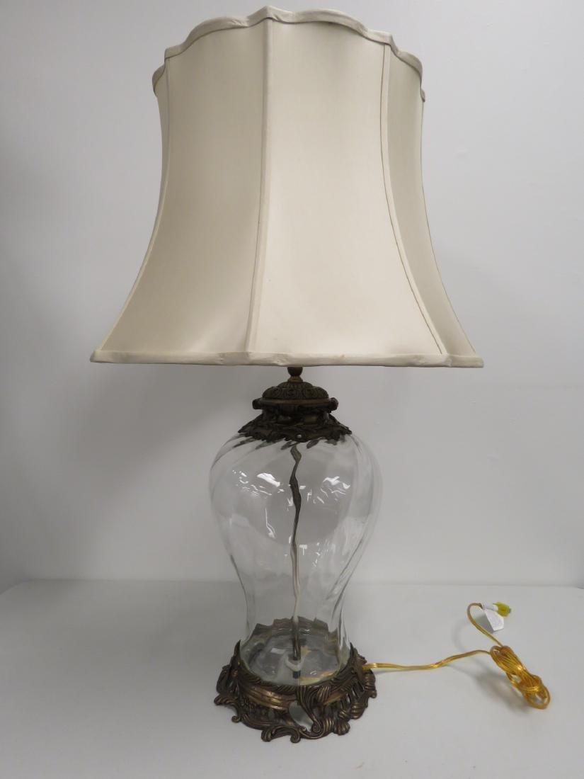MODERN GLASS & BRONZE TABLE LAMP