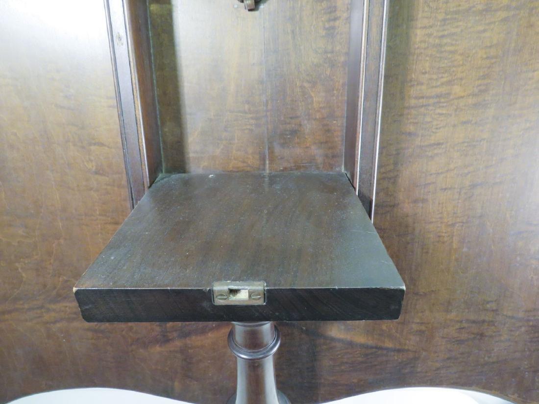 BURLED WALNUT FLIP TOP PEDESTAL TABLE - 6
