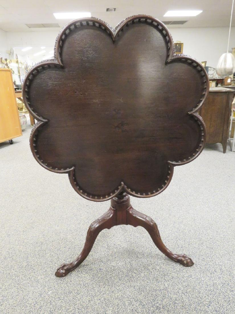 19TH CENTURY SCALLOPED & GALLERIED PEDESTAL TABLE