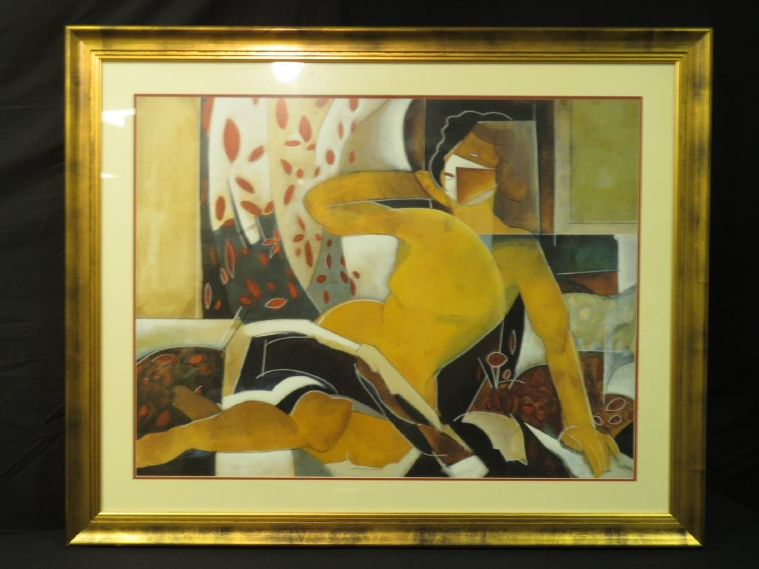 LARGE ABSTRACT PRINT OF LADY LOUNGING