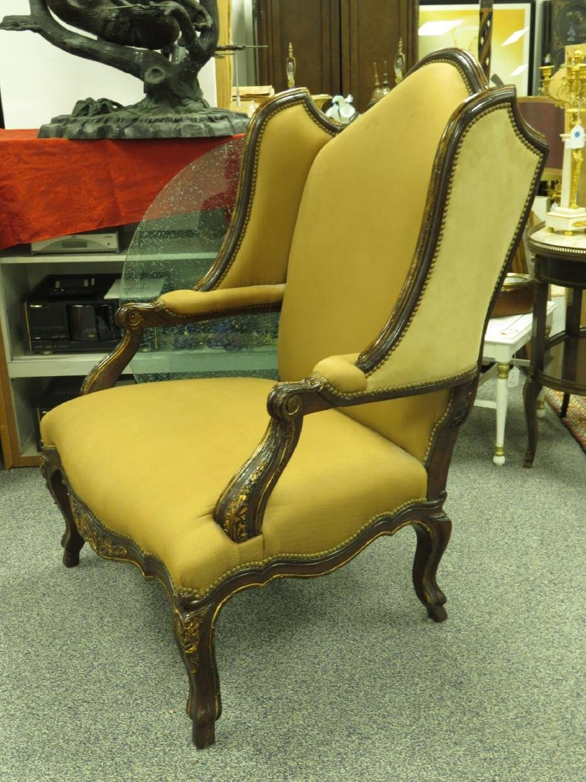 LARGE WINGBACK ARMCHAIR LEATHER/CLOTH