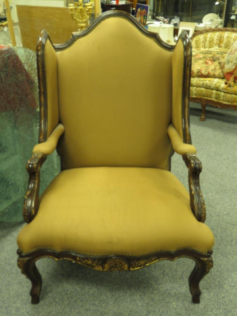 LARGE WINGBACK ARMCHAIR LEATHER/CLOTH - 2