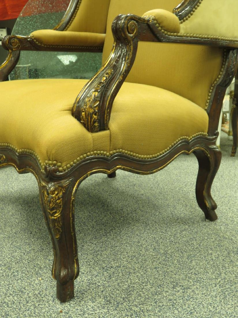 LARGE WINGBACK ARMCHAIR LEATHER/CLOTH - 4