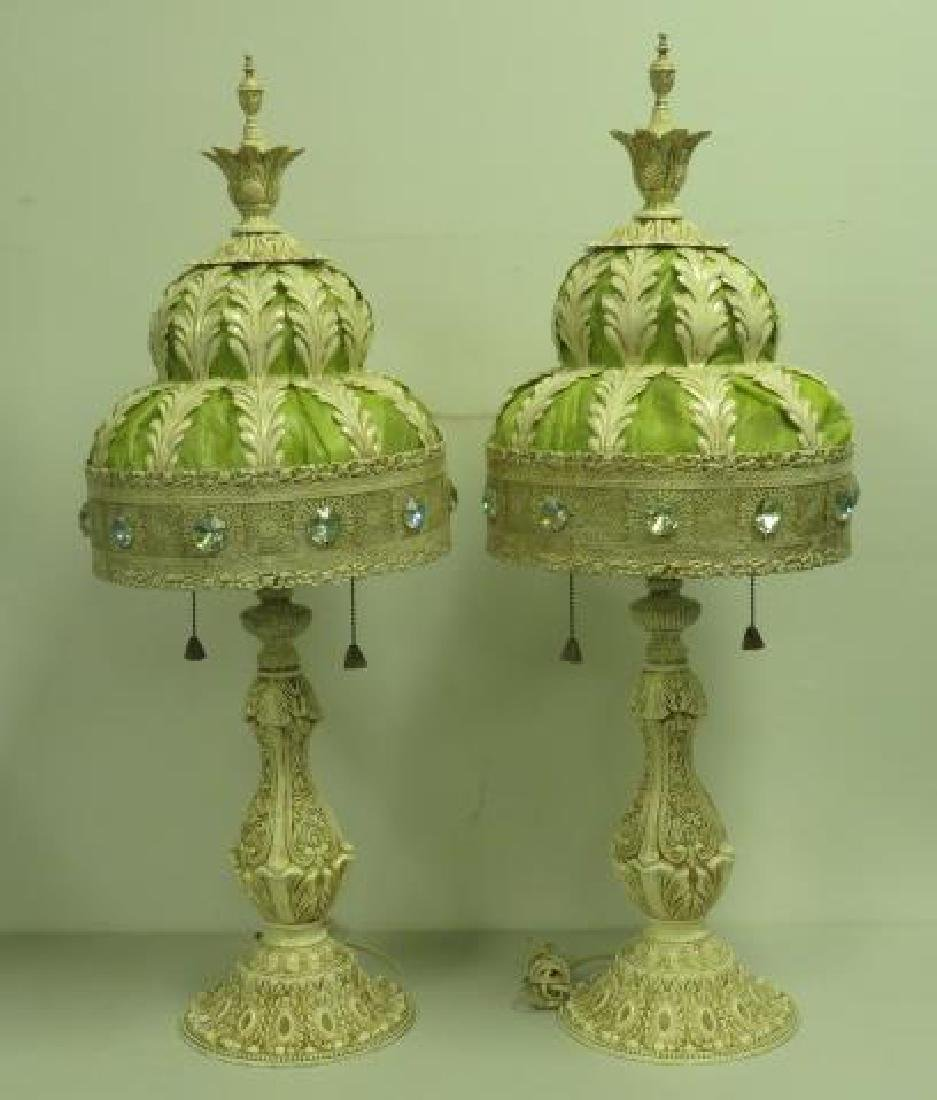 PAIR OF CREAM & LIME GREEN ORNATE VICTORIAN LAMPS