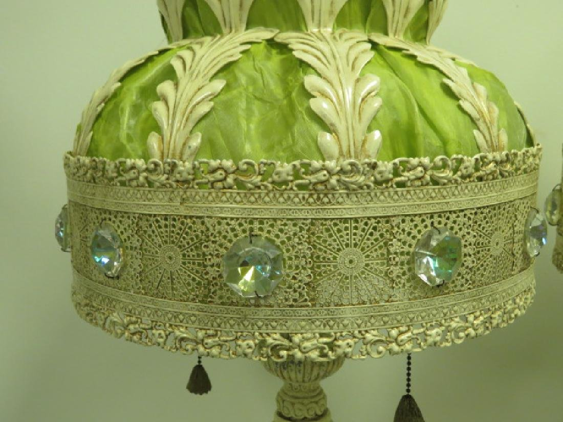 PAIR OF CREAM & LIME GREEN ORNATE VICTORIAN LAMPS - 2