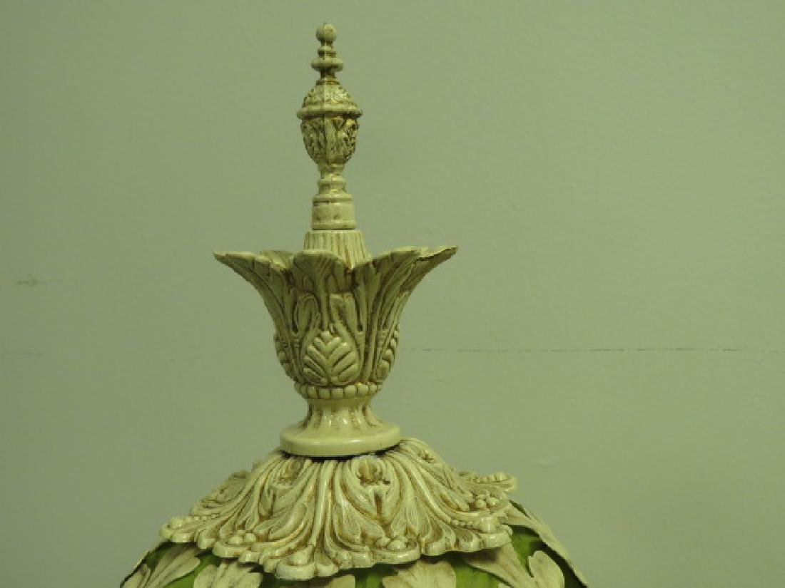 PAIR OF CREAM & LIME GREEN ORNATE VICTORIAN LAMPS - 3