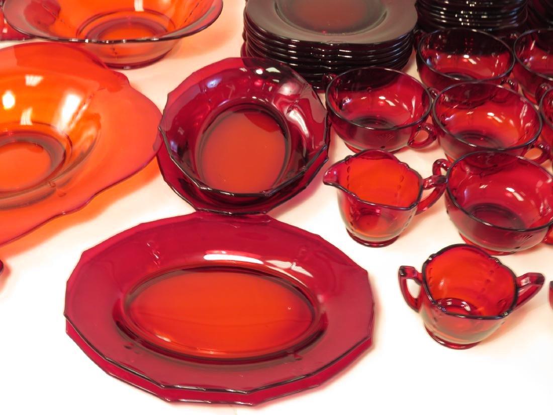 RUBY RED DEPRESSION GLASS DINNERWARE SET - 7