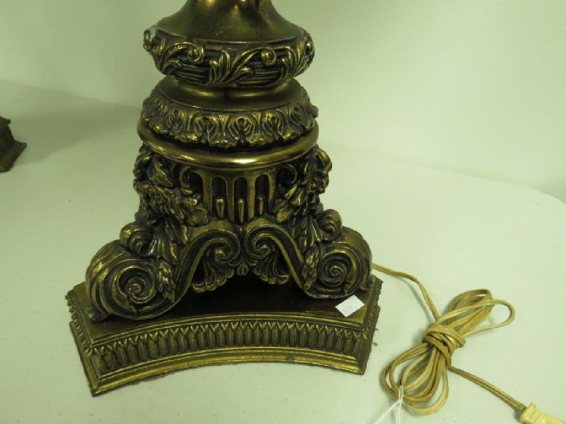 PAIR OF HEAVY ORNATE BRASS LAMPS - 2