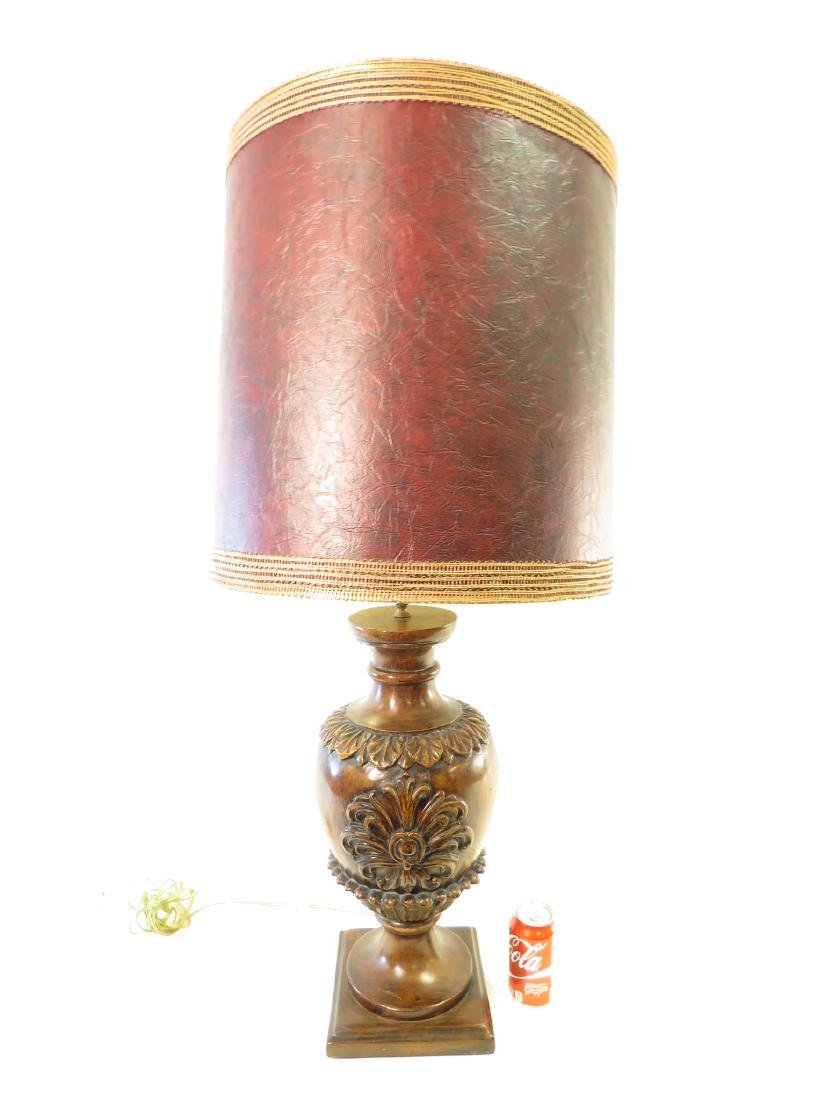 HEAVY CARVED WOOD LAMP - 3