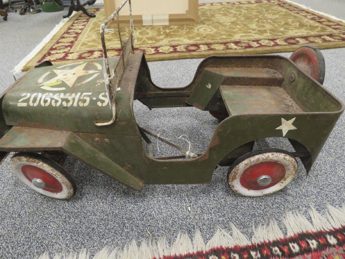 VINTAGE PEDAL CAR GREEN ARMY JEEP