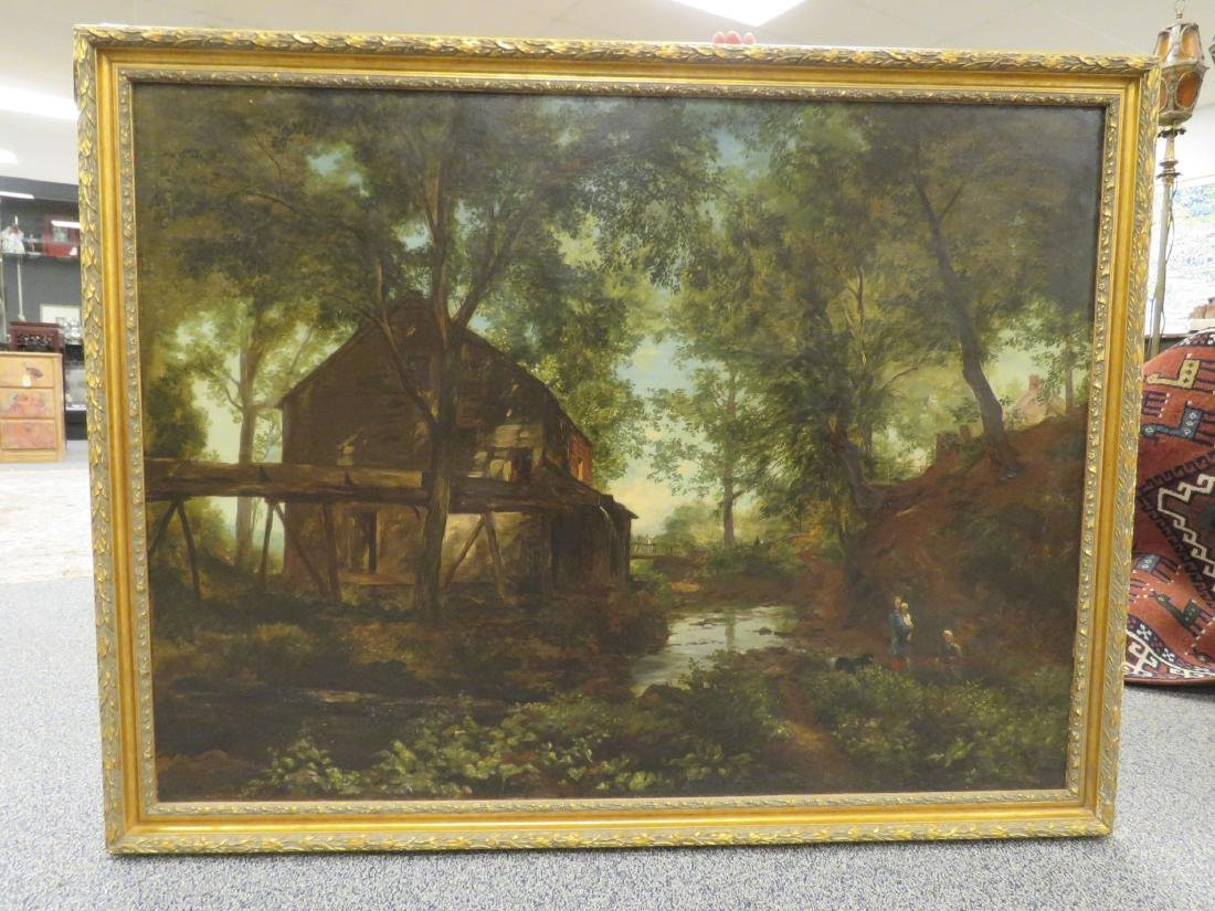 19TH C LARGE LANDSCAPE PAINTING WITH MILL