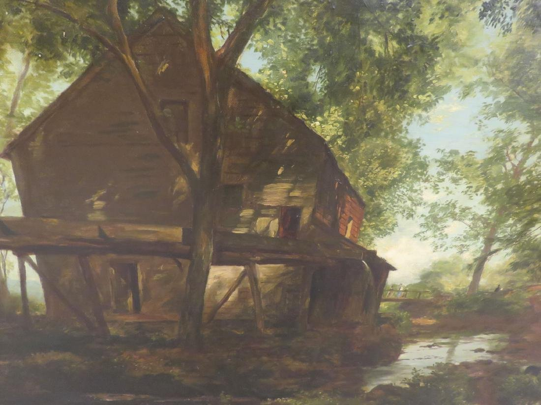19TH C LARGE LANDSCAPE PAINTING WITH MILL - 2