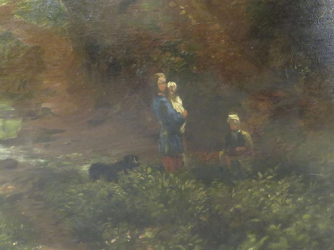 19TH C LARGE LANDSCAPE PAINTING WITH MILL - 3