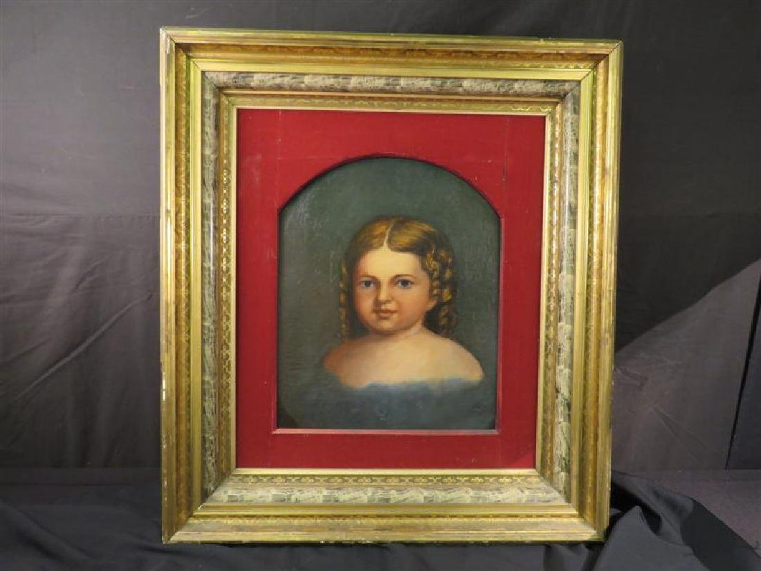 ANTIQUE PRIMITIVE FOLK ART PAINTING OF A YOUNG GIR