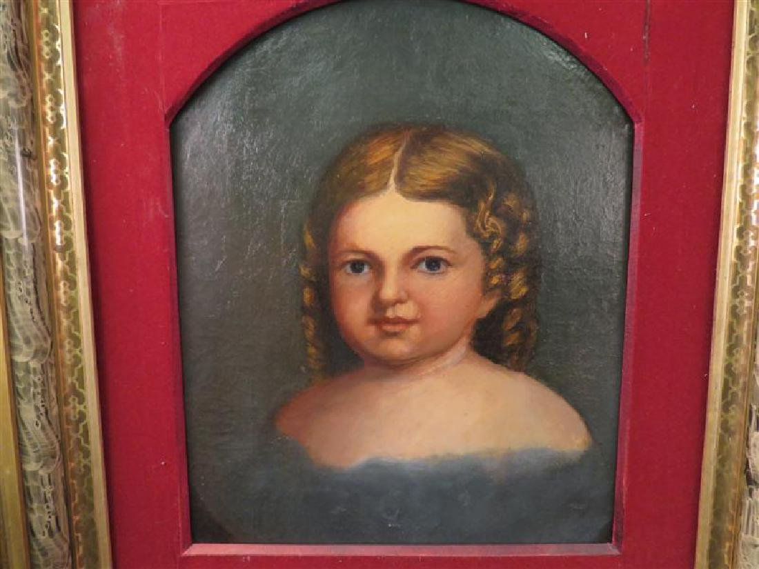 ANTIQUE PRIMITIVE FOLK ART PAINTING OF A YOUNG GIR - 2