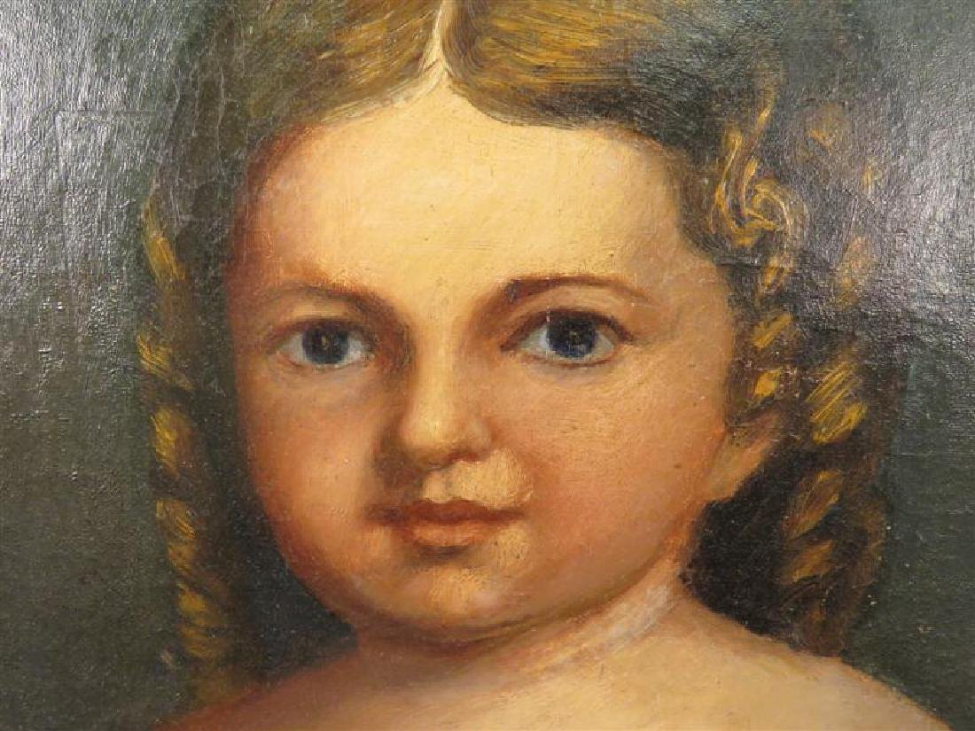 ANTIQUE PRIMITIVE FOLK ART PAINTING OF A YOUNG GIR - 3