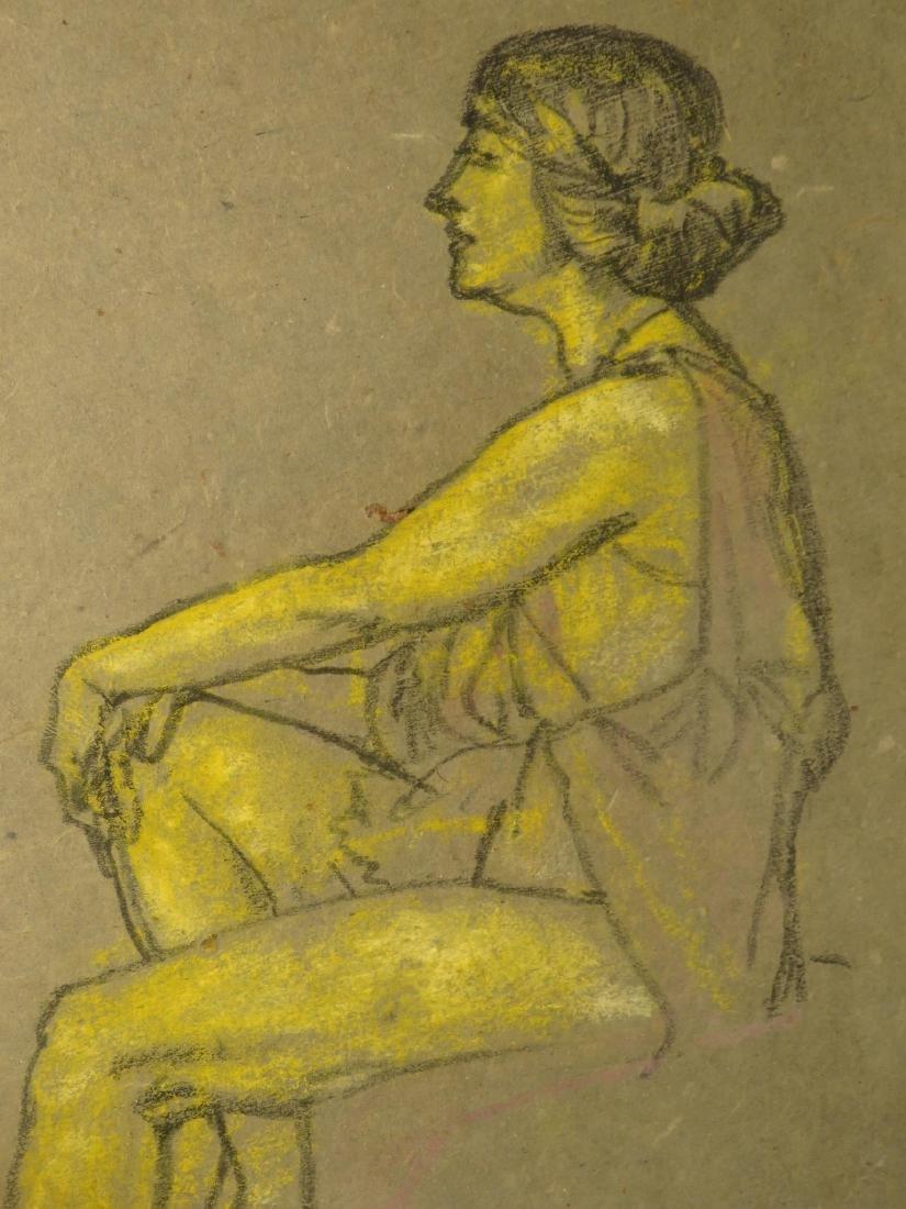 ARTHUR DAVIES FRAMED PASTEL PAINTING ON PAPER - 3