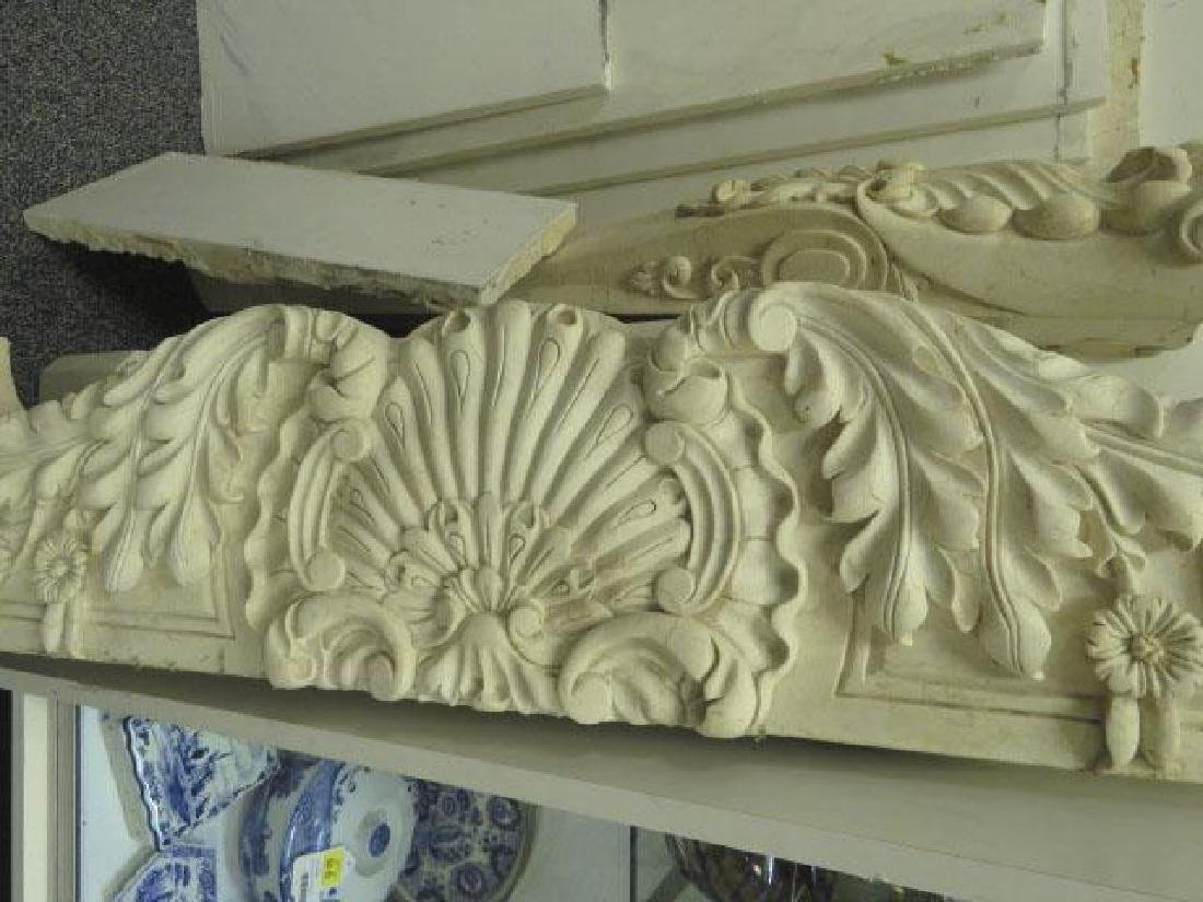 OFF WHITE CARVED MARBLE FIREPLACE MANTLE