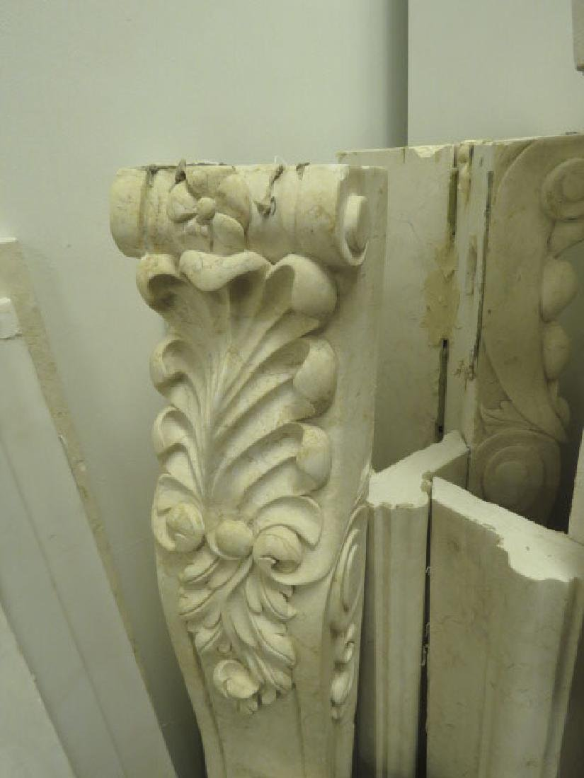OFF WHITE CARVED MARBLE FIREPLACE MANTLE - 2