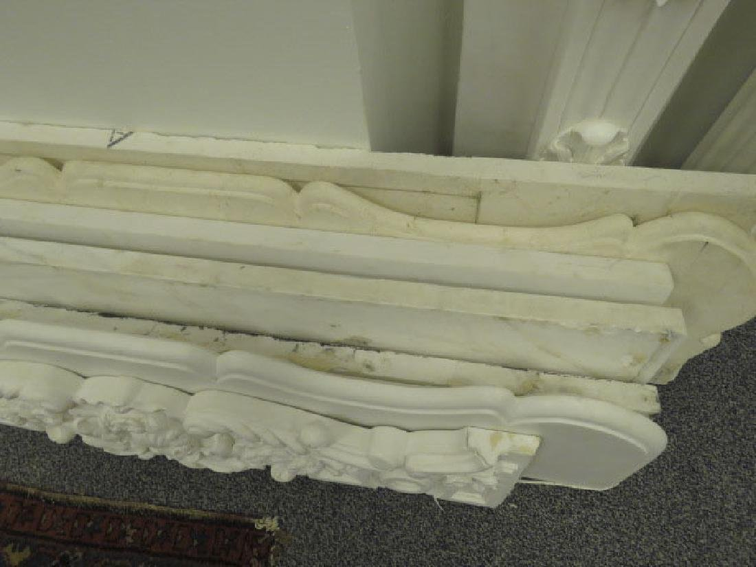 OFF WHITE CARVED MARBLE FIREPLACE MANTLE - 3