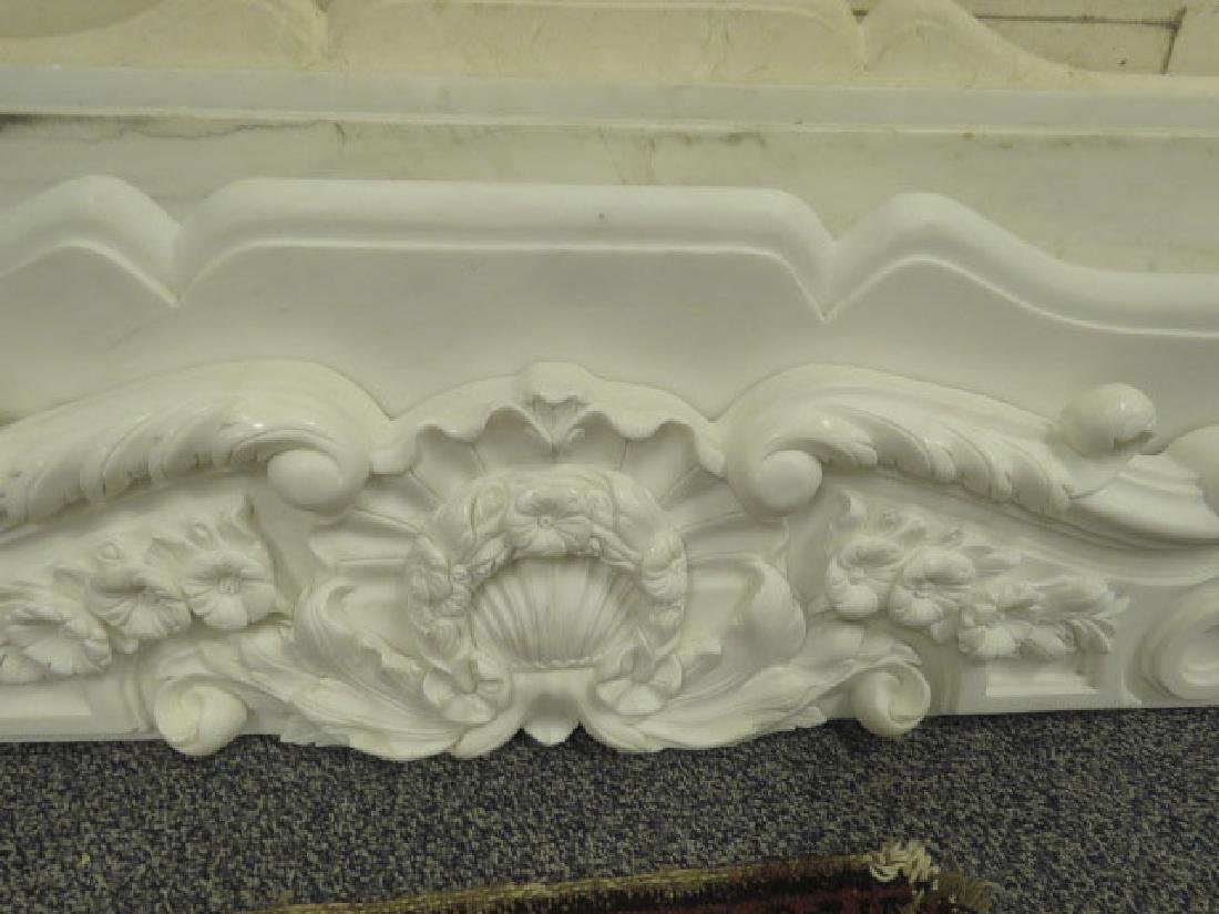 WHITE / GREY CARVED MARBLE FIREPLACE MANTLE