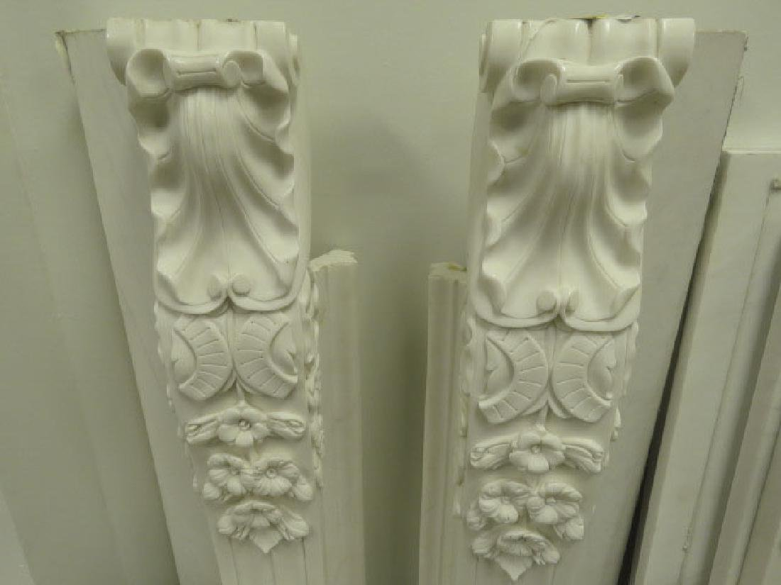 WHITE / GREY CARVED MARBLE FIREPLACE MANTLE - 2