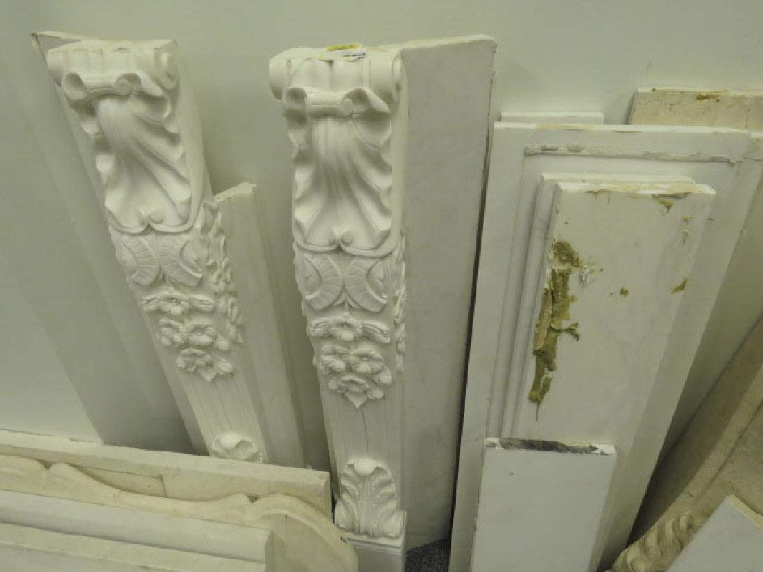 WHITE / GREY CARVED MARBLE FIREPLACE MANTLE - 3