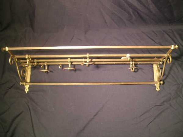 404: ANTIQUE BRASS HAT COAT ENTRY RACK SLIDING HOOKS